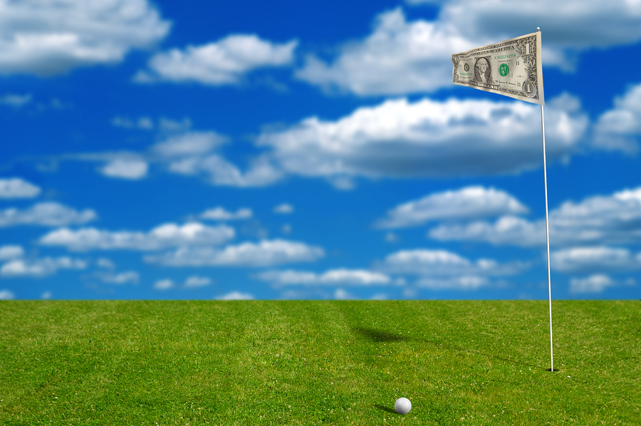 Golf Ball With Money Flag